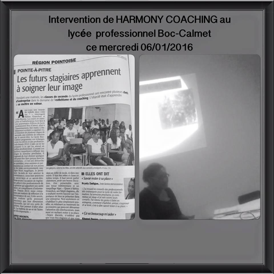 Intervention de Harmony Coaching au lycee professionnel Boc-Calmet