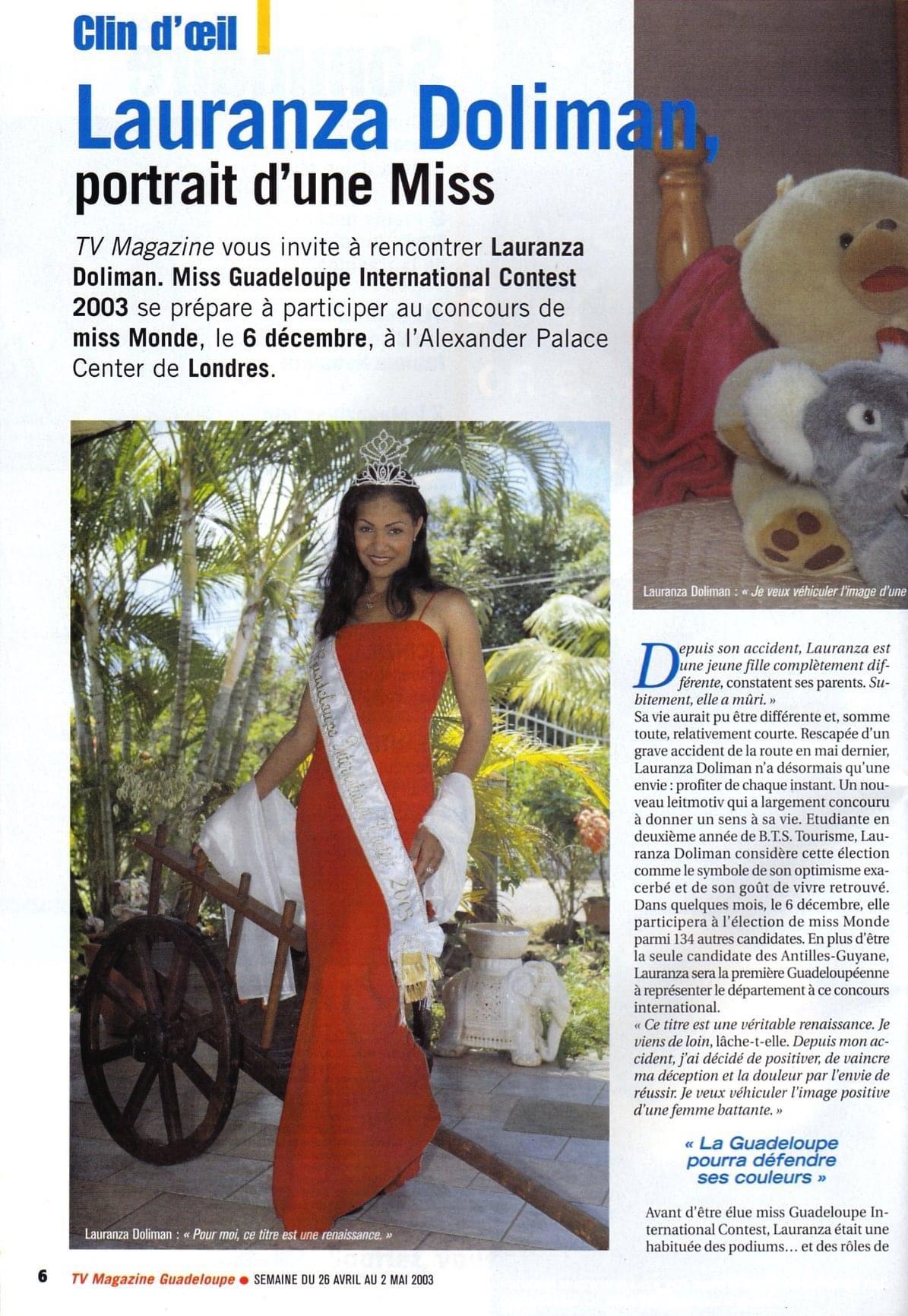 Portrait d'une Miss Lauranza DOLIMAN TV Magazine France Antilles